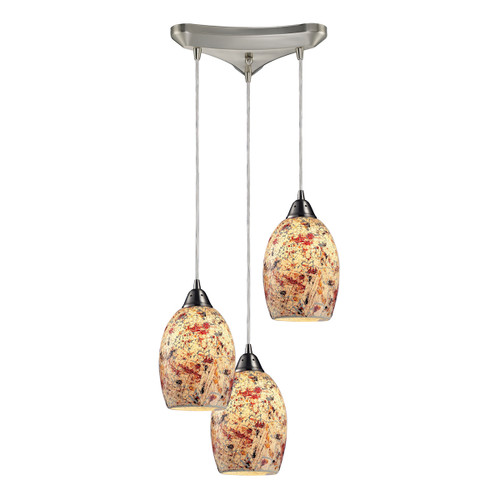 """10"""" ELK Lighting Avalon 3-Light Triangular Pendant Fixture in Satin Nickel with Multi-colored Crackle Glass, Transitional - 1"""