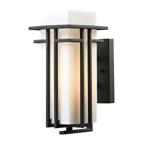 "12"" ELK Lighting Croftwell 1-Light Outdoor Wall Lamp in Textured Matte Black, Transitional - 1"