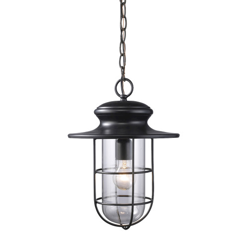 "16"" ELK Lighting Portside 1-Light Outdoor Pendant in Matte Black, Transitional - 1"
