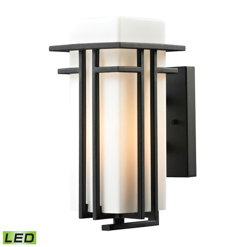 "12"" ELK Lighting Croftwell 1-Light Outdoor Wall Lamp in Textured Matte Black - Includes LED Bulb, Transitional - 1"
