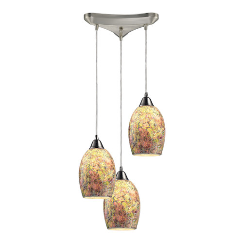 """10"""" ELK Lighting Avalon 3-Light Triangular Pendant Fixture in Satin Nickel with Multi-colored Crackle Glass, Transitional 1 - 1"""