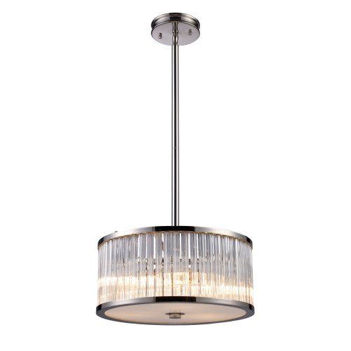 """16"""" ELK Lighting Braxton 3-Light Chandelier in Polished Nickel with Ribbed Glass, Modern / Contemporary - 1"""