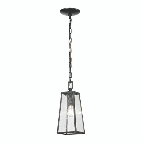 "13"" ELK Lighting Meditterano 1-Light Outdoor Pendant in Matte Black, Transitional - 1"