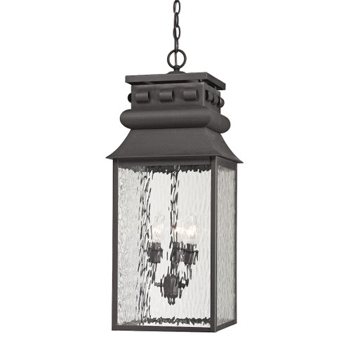 "27"" ELK Lighting Forged Lancaster 3-Light Outdoor Pendant in Charcoal, Traditional - 1"