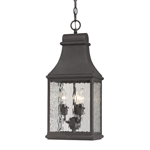 "22"" ELK Lighting Forged Jefferson 3-Light Outdoor Pendant in Charcoal, Traditional - 1"