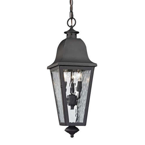 "23"" ELK Lighting Forged Brookridge 3-Light Outdoor Pendant in Charcoal, Traditional - 1"