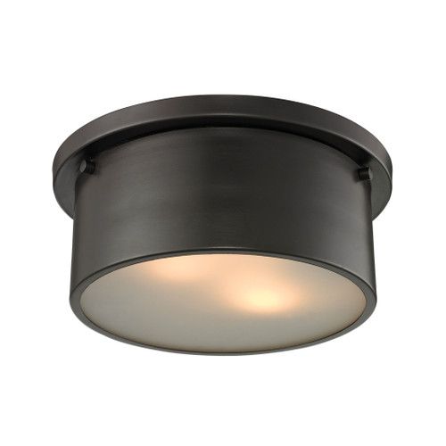 """10"""" ELK Lighting Simpson 2-Light Flush Mount in Oil Rubbed Bronze with Frosted White Diffuser, Modern / Contemporary - 1"""