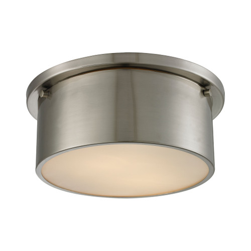 """10"""" ELK Lighting Simpson 2-Light Flush Mount in Brushed Nickel with Frosted White Diffuser, Modern / Contemporary - 1"""