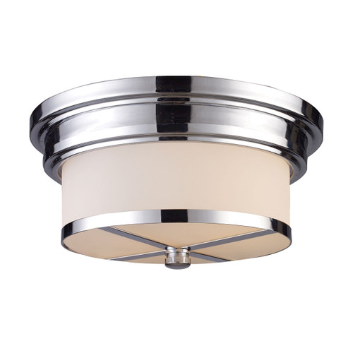 "13"" ELK Lighting Flushmounts 2-Light Flush Mount in Polished Chrome with White Glass, Transitional - 1"