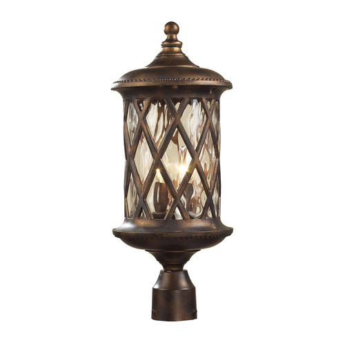 Barrington Gate 2 Light Outdoor Post Lamp In Hazlenut Bronze And Designer Water Glass