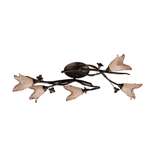 "27"" ELK Lighting Fioritura 5-Light Flush Mount in Aged Bronze with Floral-shaped Glass, Traditional - 1"