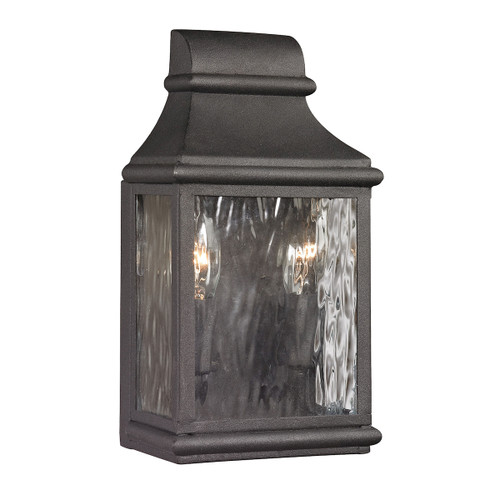 "11"" ELK Lighting Forged Jefferson 2-Light Outdoor Wall Lamp in Charcoal, Traditional - 1"