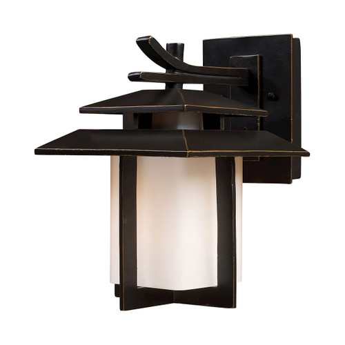 "11"" ELK Lighting Kanso 1-Light Outdoor Wall Lamp in Hazelnut Bronze, Transitional - 1"