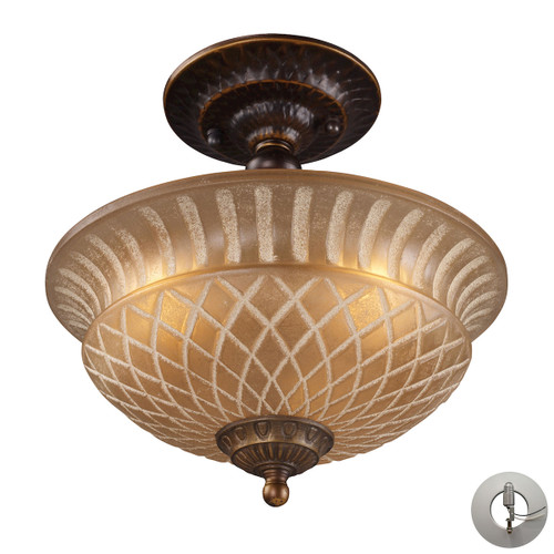 "10"" ELK Lighting Restoration 3-Light Semi Flush in Golden Bronze with Amber Glass - Includes Adapter Kit, Traditional - 1"