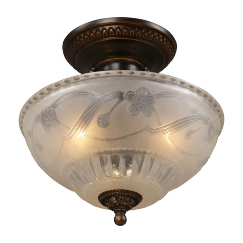 "11"" ELK Lighting Restoration 3-Light Semi Flush in Golden Bronze with Off-white Glass, Traditional - 1"