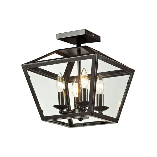 "13"" ELK Lighting Alanna 4-Light Semi Flush in Oil Rubbed Bronze with Clear Glass Panels, Transitional - 1"
