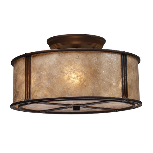 "13"" ELK Lighting Barringer 3-Light Semi Flush in Aged Bronze with Tan Mica Shade, Traditional - 1"