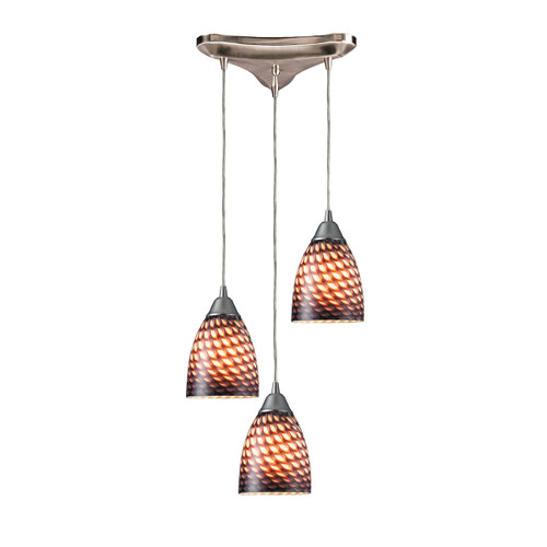 "10"" ELK Lighting Arco Baleno 3-Light Triangular Pendant Fixture in Satin Nickel with Coco Glass, Transitional - 1"