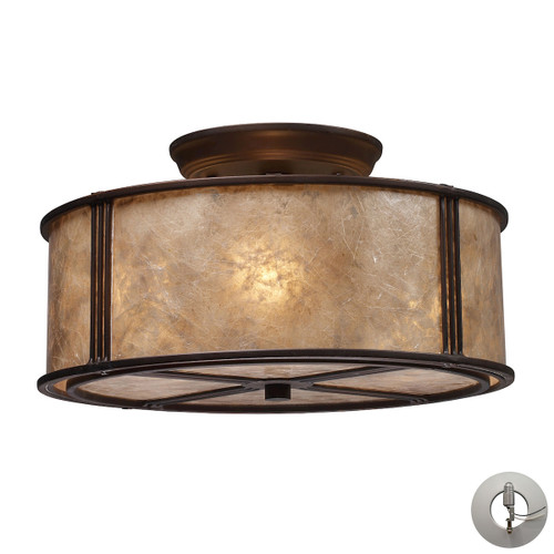 "13"" ELK Lighting Barringer 3-Light Semi Flush in Aged Bronze with Tan Mica Shade - Includes Adapter Kit, Traditional - 1"