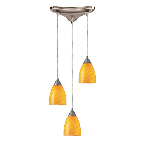 "10"" ELK Lighting Arco Baleno 3-Light Triangular Pendant Fixture in Satin Nickel with Canary Glass, Transitional - 1"