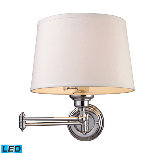 """15"""" ELK Lighting Westbrook 1-Light Swingarm Wall Lamp in Polished Chrome with Off-white Shade - Includes LED Bulb, Transitional - 1"""