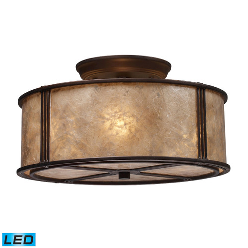 "13"" ELK Lighting Barringer 3-Light Semi Flush in Aged Bronze with Tan Mica Shade - Includes LED Bulbs, Traditional - 1"