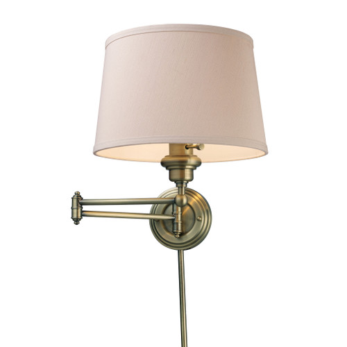 """15"""" ELK Lighting Westbrook 1-Light Swingarm Wall Lamp in Antique Brass with Off-white Shade, Transitional - 1"""