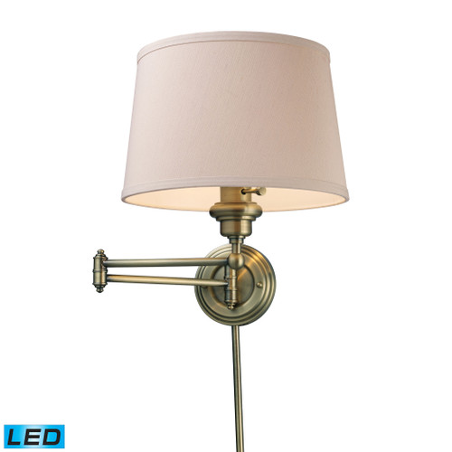 """15"""" ELK Lighting Westbrook 1-Light Swingarm Wall Lamp in Antique Brass with Off-white Shade - Includes LED Bulb, Transitional - 1"""