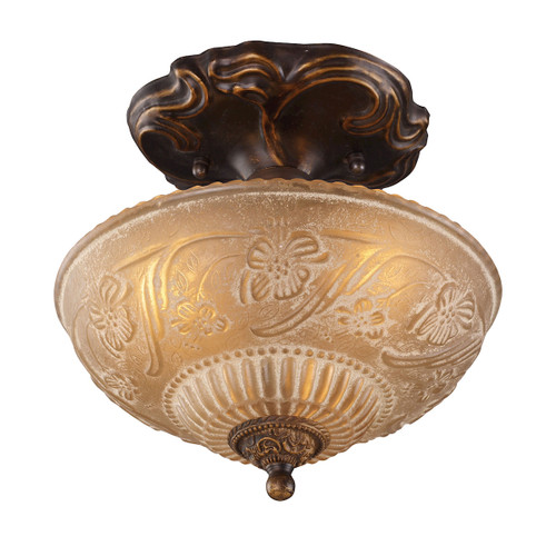 "10"" ELK Lighting Restoration 3-Light Semi Flush in Golden Bronze with Amber Glass, Traditional 1 - 1"