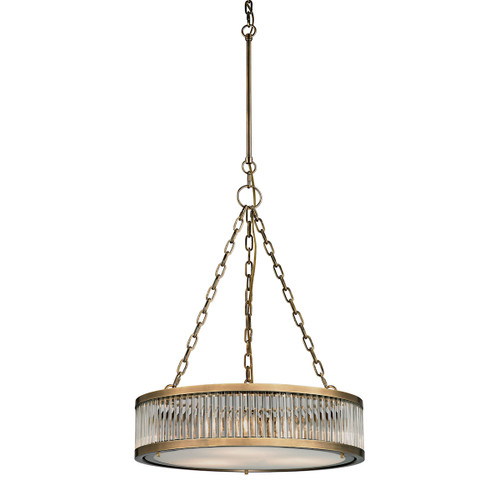 "26"" ELK Lighting Linden Manor 3-Light Chandelier in Aged Brass with Diffuser, Transitional - 1"