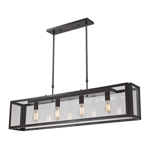 """51"""" ELK Lighting Parameters 4-Light Linear Chandelier in Bronze with Clear Glass, Modern / Contemporary - 1"""