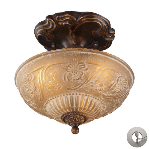 "10"" ELK Lighting Restoration 3-Light Semi Flush in Golden Bronze with Amber Glass - Includes Adapter Kit, Traditional 1 - 1"
