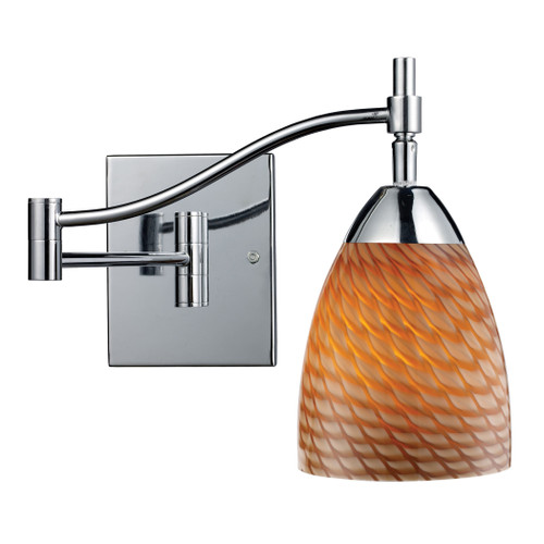"""22"""" ELK Lighting Celina 1-Light Swingarm Wall Lamp in Chrome with Coco Glass, Transitional - 1"""