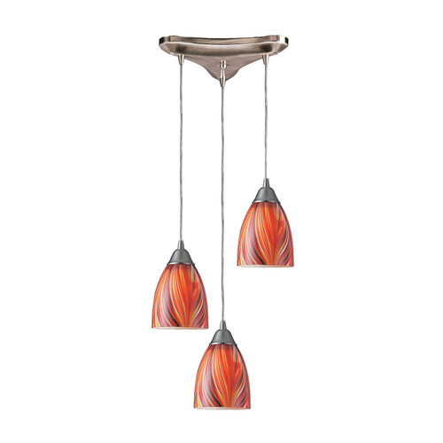 "10"" ELK Lighting Arco Baleno 3-Light Triangular Pendant Fixture in Satin Nickel with Multi-colored Glass, Transitional - 1"