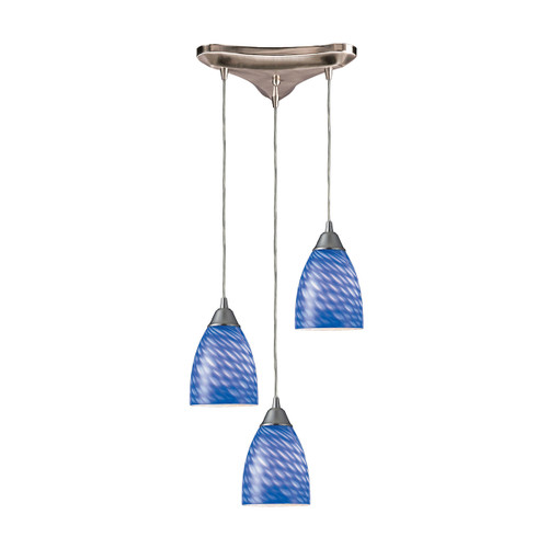 "10"" ELK Lighting Arco Baleno 3-Light Triangular Pendant Fixture in Satin Nickel with Sapphire Glass, Transitional - 1"
