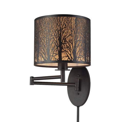 """15"""" ELK Lighting Woodland Sunrise 1-Light Swingarm Wall Lamp in Oil Rubbed Bronze with Woodland Shade, Modern / Contemporary - 1"""