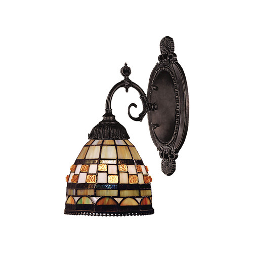 "10"" ELK Lighting Jewelstone 1-Light Wall Lamp in Tiffany Bronze with Tiffany Style Glass, Traditional - 1"