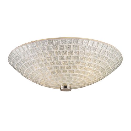 "12"" ELK Lighting Fusion 2-Light Semi Flush in Satin Nickel with Silver Mosaic Glass, Transitional - 1"