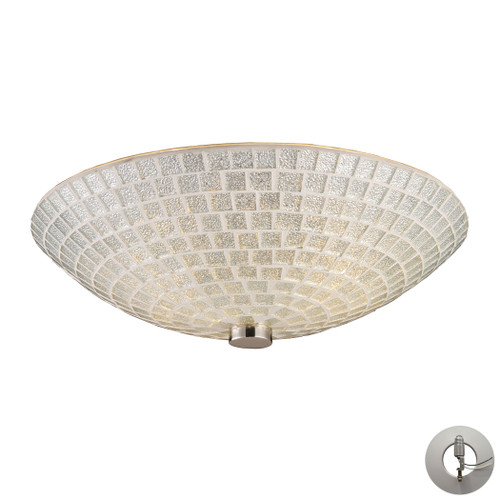 "12"" ELK Lighting Fusion 2-Light Semi Flush in Satin Nickel with Silver Mosaic Glass - Includes Adapter Kit, Transitional - 1"