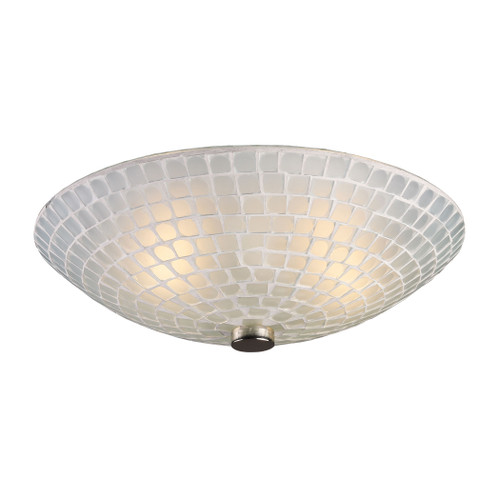 "12"" ELK Lighting Fusion 2-Light Semi Flush in Satin Nickel with White Mosaic Glass, Transitional - 1"