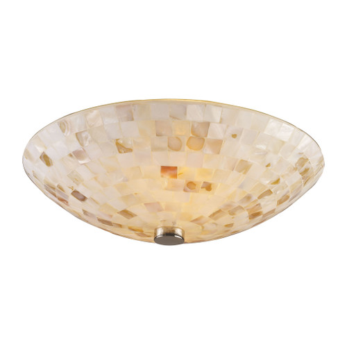 "12"" ELK Lighting Capri 2-Light Semi Flush in Satin Nickel with Capiz Shell Glass, Transitional - 1"