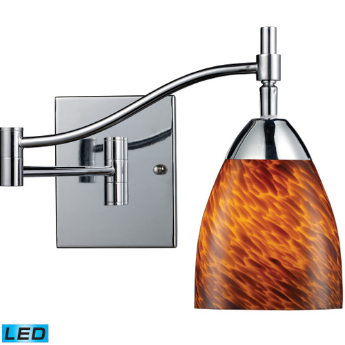 """22"""" ELK Lighting Celina 1-Light Swingarm Wall Lamp in Chrome with Espresso Glass - Includes LED Bulb, Transitional - 1"""
