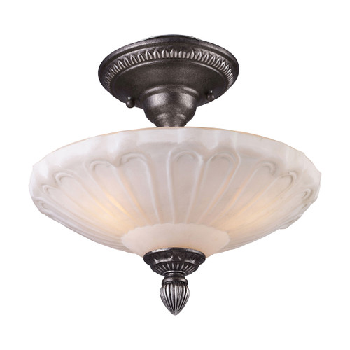 "12"" ELK Lighting Restoration 3-Light Semi Flush in Dark Silver with White Antique Glass, Traditional - 1"
