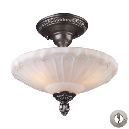 "12"" ELK Lighting Restoration 3-Light Semi Flush in Dark Silver with White Antique Glass - Includes Adapter Kit, Traditional - 1"