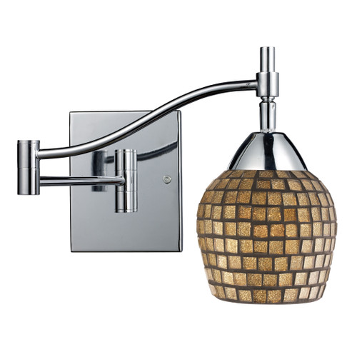 """22"""" ELK Lighting Celina 1-Light Swingarm Wall Lamp in Chrome with Gold Mosaic Glass, Transitional - 1"""