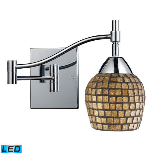 """22"""" ELK Lighting Celina 1-Light Swingarm Wall Lamp in Chrome with Gold Mosaic Glass - Includes LED Bulb, Transitional - 1"""