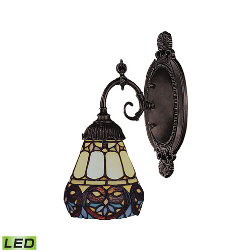 """10"""" ELK Lighting Mix-N-Match 1-Light Wall Lamp in Tiffany Bronze with Tiffany Style Glass - Includes LED Bulb, Traditional 10 - 1"""