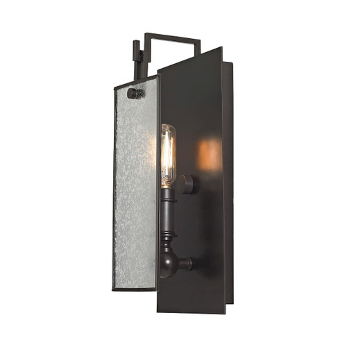 """13"""" ELK Lighting Lindhurst 1-Light Swingarm Wall Lamp in Oil Rubbed Bronze with Glass Panel, Modern / Contemporary - 1"""