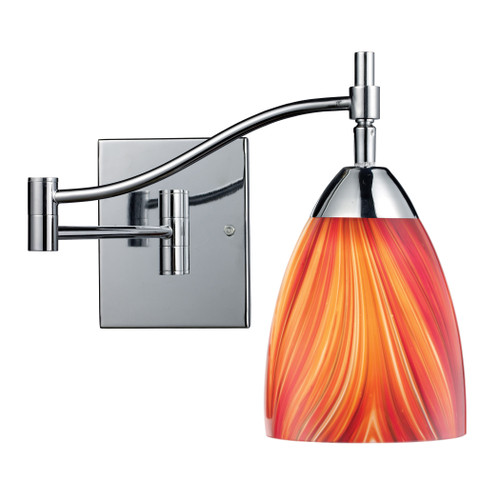 """22"""" ELK Lighting Celina 1-Light Swingarm Wall Lamp in Chrome with Multi-colored Glass, Transitional - 1"""