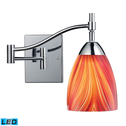 """22"""" ELK Lighting Celina 1-Light Swingarm Wall Lamp in Chrome with Multi-colored Glass - Includes LED Bulb, Transitional - 1"""